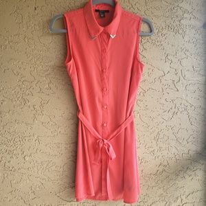 Forever 21 Orange Button Up Dress, Small